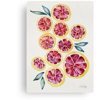 Sliced Grapefruits Watercolor Canvas Print