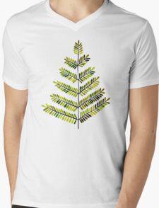 Green Leaflets Mens V-Neck T-Shirt