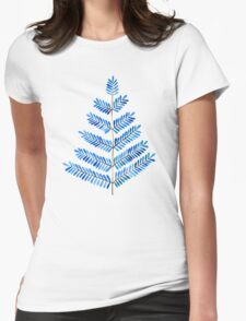 Blue Leaflets Womens Fitted T-Shirt