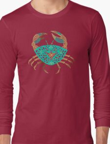 Crab – Turquoise & Gold Long Sleeve T-Shirt