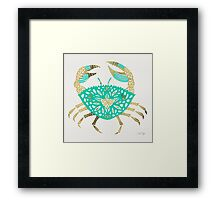 Crab – Turquoise & Gold Framed Print