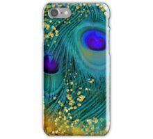 Dreamy peacock feathers, teal and purple, glimmering gold iPhone Case/Skin