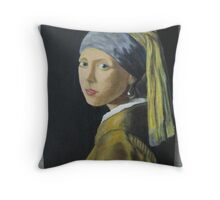 Girl with Pearl Earring Johannes Vermeer Throw Pillow