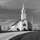 Classic white church on the hill by Robert Dettman