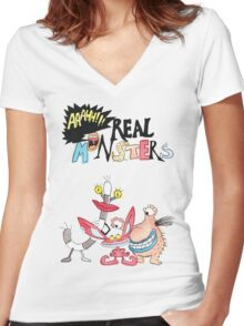 Real Monsters! Women's Fitted V-Neck T-Shirt