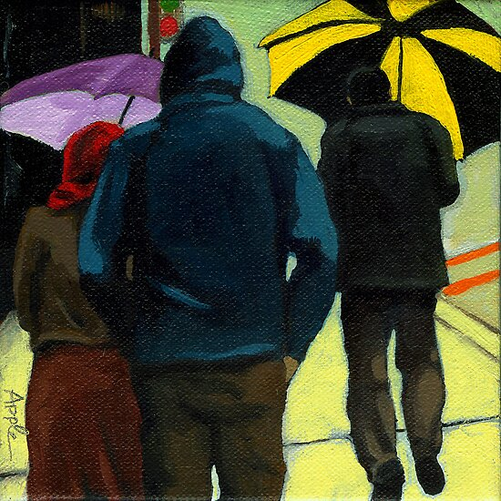 Figurative City Painting - Odd Man Out by LindaAppleArt