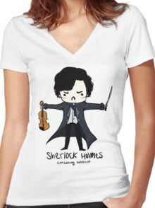 Sherlock is Not a Psychopath Women's Fitted V-Neck T-Shirt