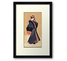 'Beauty with Umbrella in the Snow' by Katsushika Hokusai (Reproduction) Framed Print