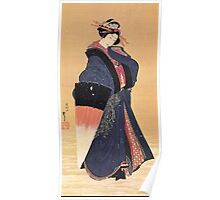 'Beauty with Umbrella in the Snow' by Katsushika Hokusai (Reproduction) Poster
