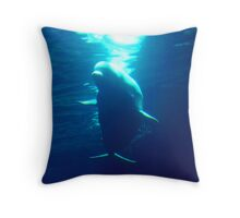 """Silhouette Of The Deep The Grand Beluga"" Throw Pillow"