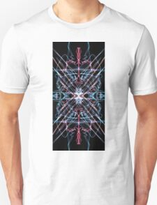 Pink Blue White on black T-Shirt