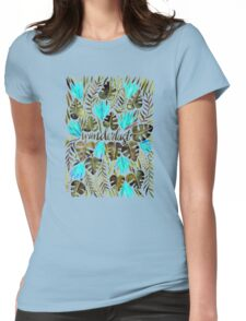 Tropical Wanderlust – Turquoise & Olive Womens Fitted T-Shirt