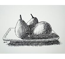 Cross Hatched Pears Photographic Print
