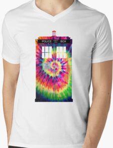 Tie Dye Tardis Mens V-Neck T-Shirt