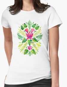 Tropical Symmetry – Pink & Green Womens Fitted T-Shirt