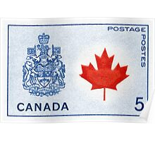 Canada 1964 series Maple Leaf stamp and Coat of Arms Poster