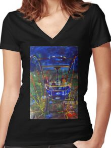 GYMPIE MUSTER - COLLECTION -  FERRIS WHEEL BLUES Women's Fitted V-Neck T-Shirt