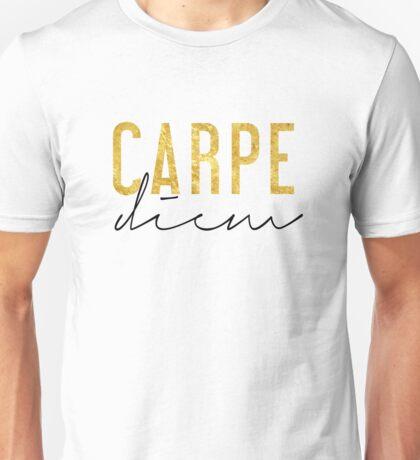 Carpe Diem - Seize the Day - Black and Gold Unisex T-Shirt