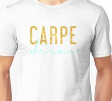 Carpe Diem - Seize the Day - Aqua and Gold Unisex T-Shirt