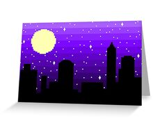 Pixel Nighttime Cityscape Greeting Card