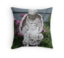 Angel, protecting my garden flowers Throw Pillow