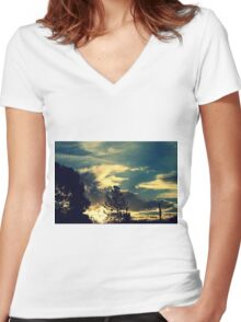 Sunset In The Suburb Women's Fitted V-Neck T-Shirt