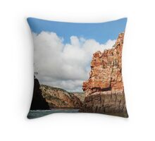 Imposing cliffs at Horizontal Falls Throw Pillow