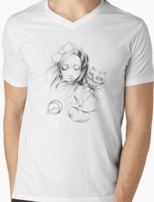 alice and the cat Mens V-Neck T-Shirt