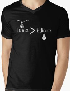 Tesla > Edison Mens V-Neck T-Shirt