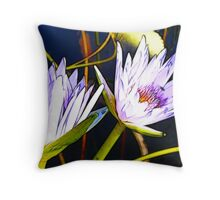 Double Lotus Flowers - fractalius Throw Pillow