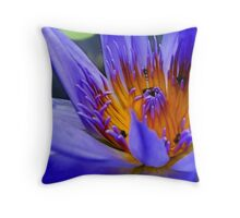 Purple Lotus Flower - fractalius Throw Pillow