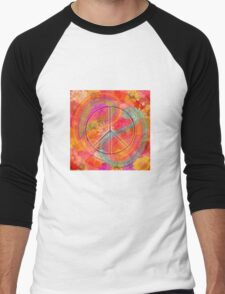 Hippie Chic Flowers Peace Men's Baseball ¾ T-Shirt