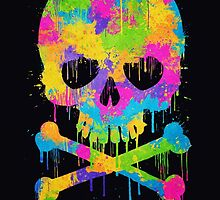 Abstract Trendy Graffiti Watercolor Skull  by badbugs