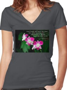Orchids in Watercolour Quotation Women's Fitted V-Neck T-Shirt