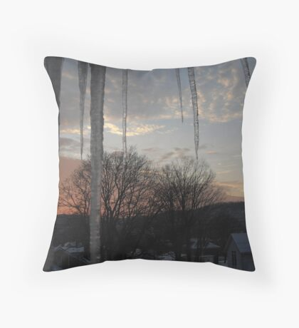 Icey Sunset Throw Pillow