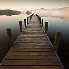 Coniston jetty on a misty calm morning by Shaun Whiteman