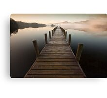 Coniston jetty on a misty calm morning Canvas Print
