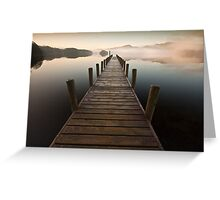 Coniston jetty on a misty calm morning Greeting Card