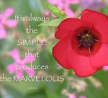 Scarlet Flax Flower (with quote) by THurdCreations