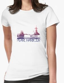 Pearl Harbour Skyline T-shirt Design Womens Fitted T-Shirt