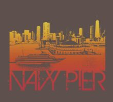 Chicago Navy Pier Skyline T-shirt Design by FlagSilhouettes