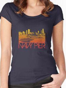 Chicago Navy Pier Skyline T-shirt Design Women's Fitted Scoop T-Shirt