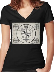 Retro TV Monoscope Test Pattern Women's Fitted V-Neck T-Shirt
