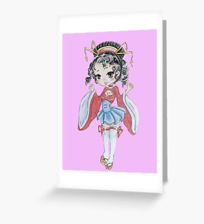 Chibi Geisha  Greeting Card