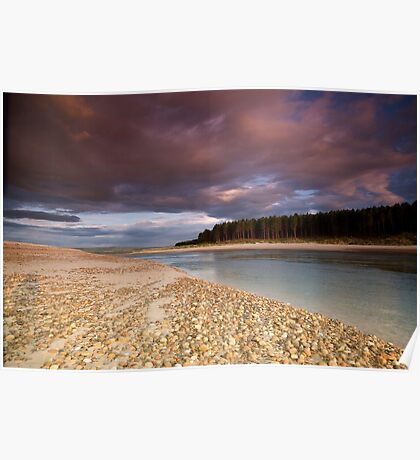 Sun set at Findhorn bay Poster