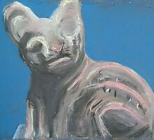 Egyptian Cat (Pastel of Ancient Egyptian Cat Statue) by Niki Hilsabeck