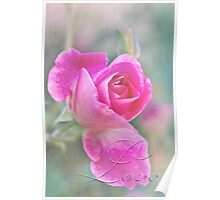 Romantic rose in a mist with love Poster