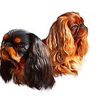 English Toy Spaniels (King charles spaniels) by Cazzie Cathcart