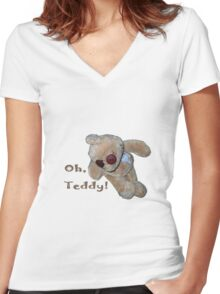 Oh, Teddy! Women's Fitted V-Neck T-Shirt
