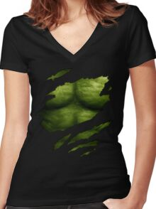 The Incredible Green Super Soldier Women's Fitted V-Neck T-Shirt